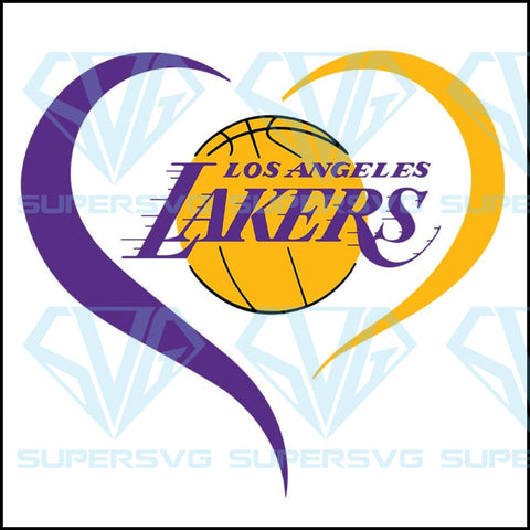 Los Angeles Lakers heart svg, Lakers heart svg