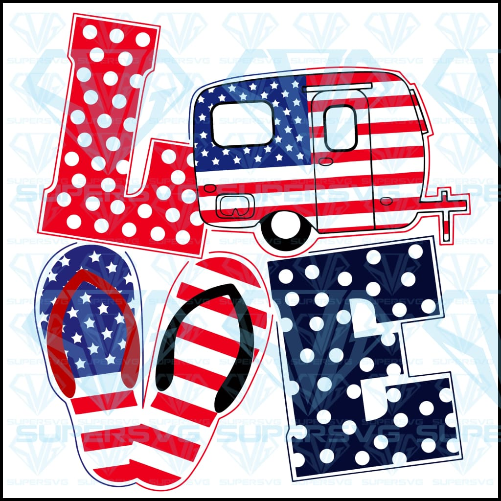 Love Bus Camping Flip Flop American Flag 4th of July, SVG, Eps, Dxf, Png file