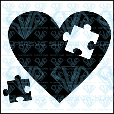 Love Heart Puzzle Piece, svg, png, dxf, eps file