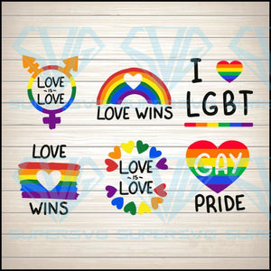 Love Is Love Wins Pride Bundle SVG PNG DXF EPS Download Files