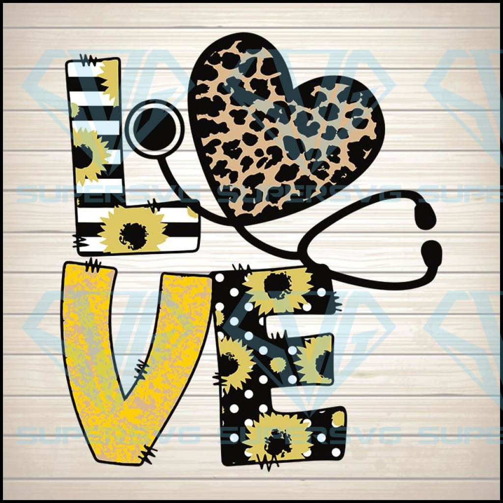 LOVE Stethoscope Yellow Sunflower Leopard Tumbler svg, Digital Download