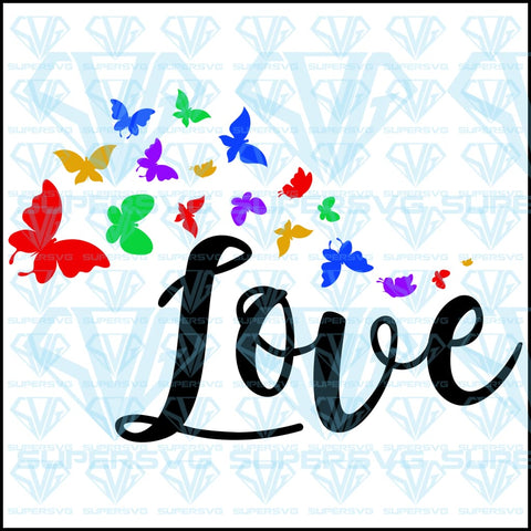 Love with Butterflies, svg, png, dxf, eps file