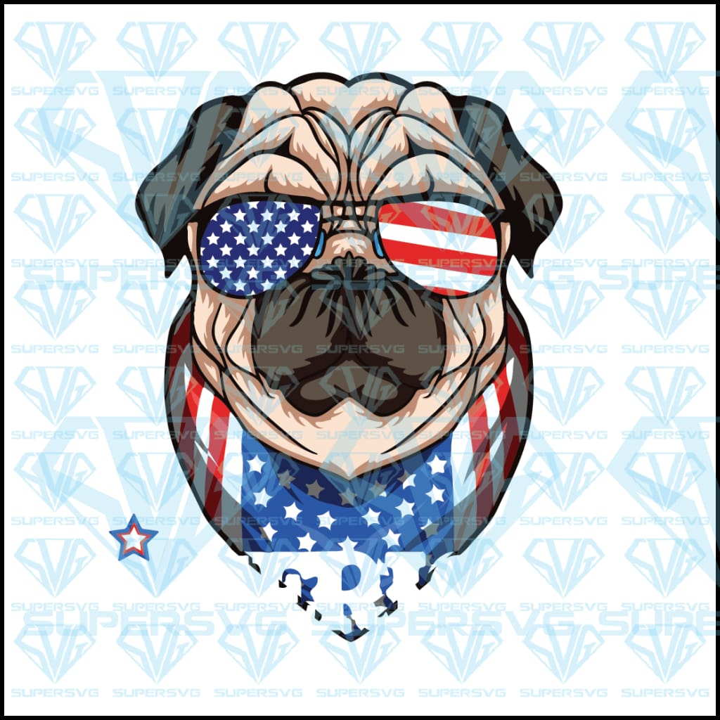 Merica Pug, Sunglasses, svg, png, dxf, eps file