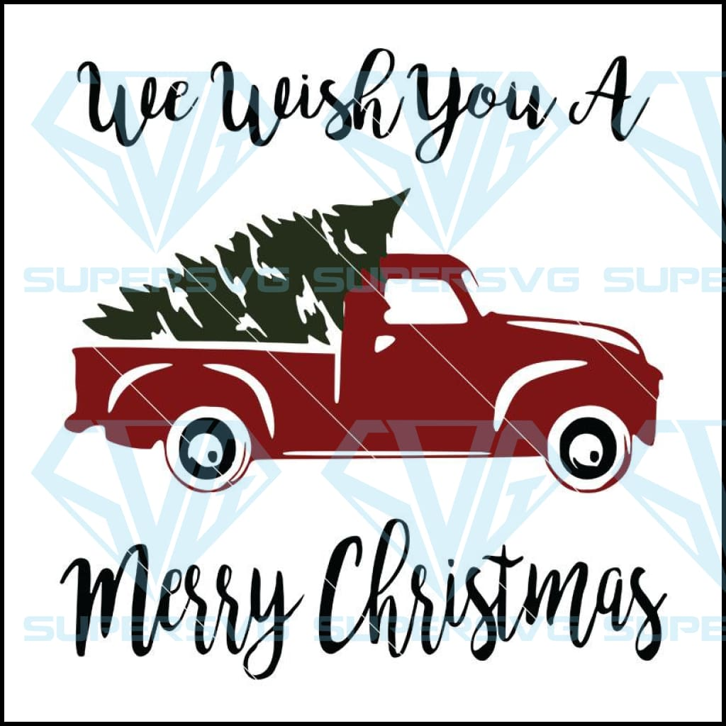 Merry Christmas Red Truck Svg And Tree Digital Svg File Supersvg