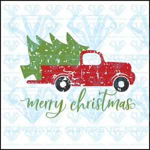 Merry Christmas With Vintage Truck, svg, png, dxf, eps file