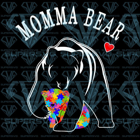 Momma Bear Autism Awareness Love Support Mom PNG Instant Download