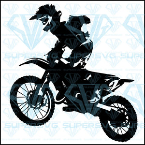 Motocross Race Rider On Motorbike, svg, png, dxf, eps file