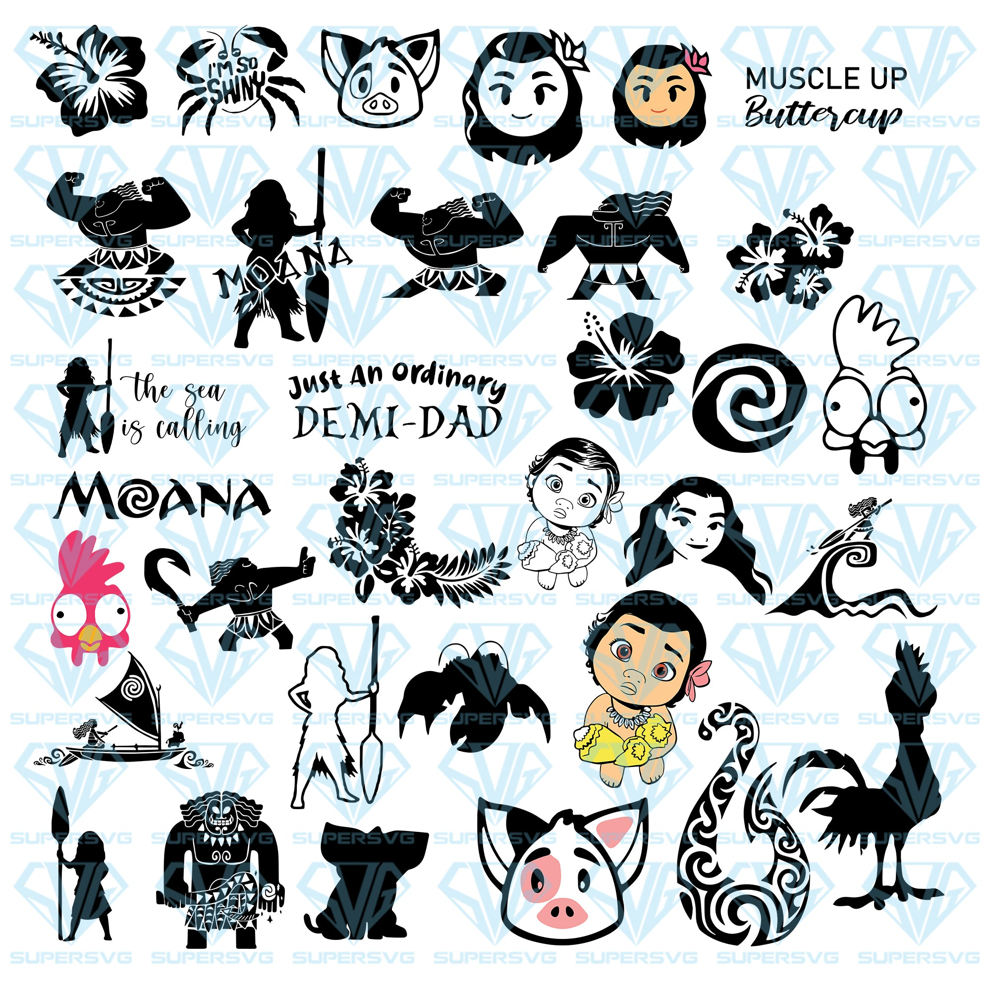 Moana Maui Bundle Svg Files For Silhouette Files For Cricut Svg Dx Supersvg
