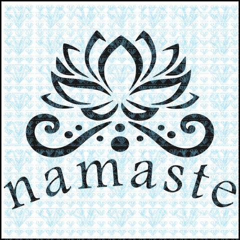 Namaste With Lotus Flower Svg Files For Silhouette Cricut Dxf Eps Png Instant Download