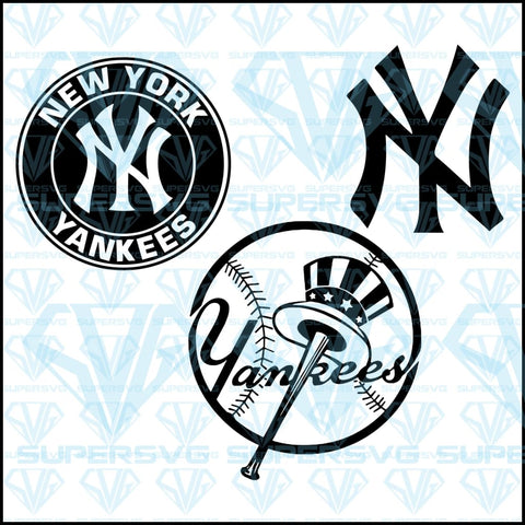 New York Yankees Bundle Svg Files For Silhouette Cricut Dxf Eps Png Instant Download