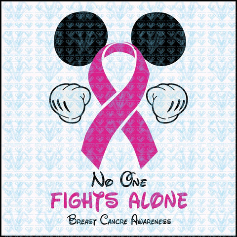 No One Fights Alone Breast Cancer Awareness Svg Files For Silhouette Cricut Dxf Eps Png Instant