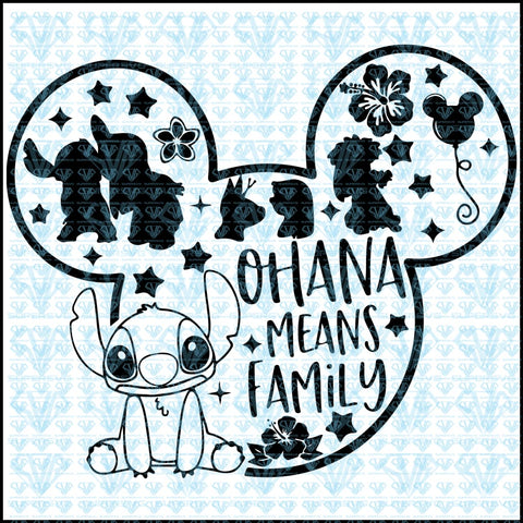 Ohana Means Family Svg Files For Silhouette Cricut Dxf Eps Png Instant Download
