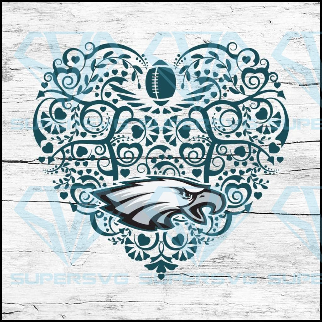 Philadelphia Eagles, Heart SVG, NFL Svg, Football Svg, Cricut File, Svg