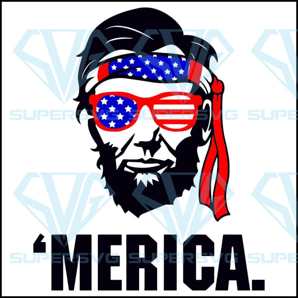 President Abraham Lincoln Headband Merica 4th of July SVG, Lincoln svg, lincoln lover,4th of july, independence day svg,sunglasses svg,american flag, independence day,4th july gift, patriotic svg,independence gift,