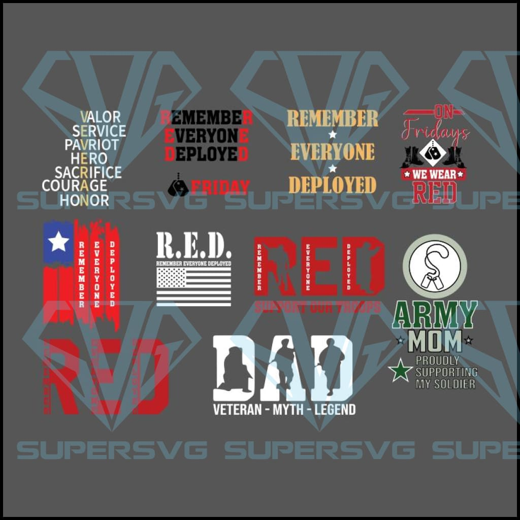 Red Friday Svg Bundle We Wear Red On Friday Support Our Troops Svg B Supersvg
