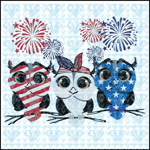 Red White Blue Owls Firework 4Th Of July Ladies Svg Files For Silhouette Cricut Dxf Eps Png Instant