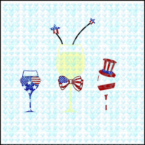 Red White Blue Wine Glasses American Flag 4Th Of July Svg Files For Silhouette Cricut Dxf Eps Png