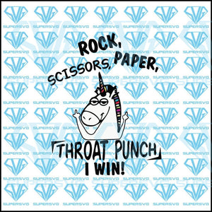 Rock Scissors Paper Throat Punch I Win Svg Files For Silhouette Cricut Dxf Eps Png Instant Download