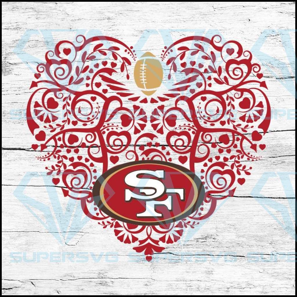 San Francisco 49ers, Heart SVG, NFL Svg, Football Svg, Cricut File, Svg