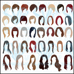 Set Different Hairstyles Hair Colors, svg, png, dxf, eps file