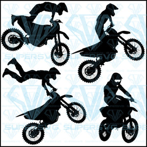Set Silhouettes Motocross Rider On Motorcycle, svg, png, dxf, eps file