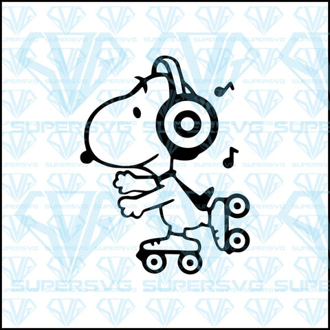 Skating Music Snoopy, svg, png, dxf, eps file
