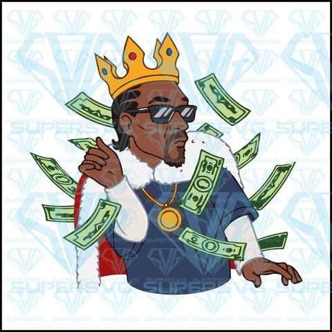 Snoop Dogg, funny, luxury man, a lot of money, Snoop Dogg with crown, svg, png, dxf, eps file