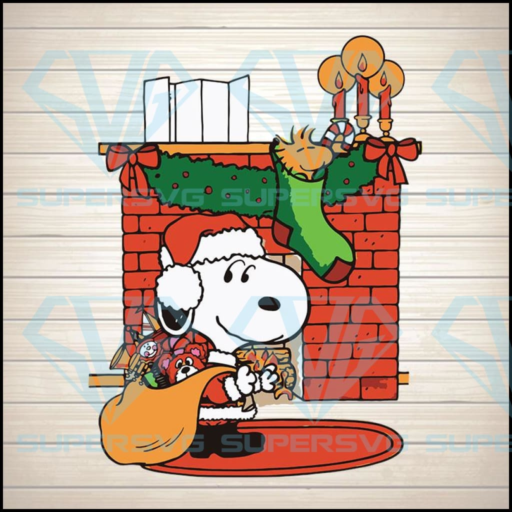 Snoopy and Woodstock Satan Claus Svg, Christmas Png Digital Download