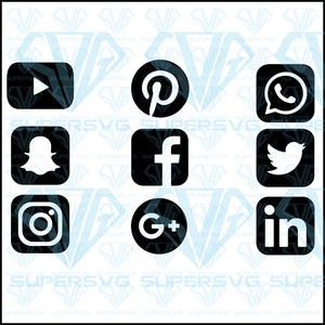 Social Media Symbols, svg, png, dxf, eps file