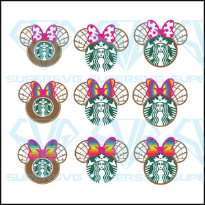 Styles Mexican Concha Minnie Ears Starbucks Svg, Starbucks Svg, Cricut File, Svg
