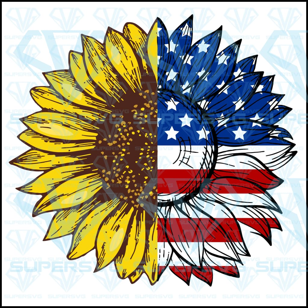 Sunflower American Flag Svg Files For Silhouette Cricut Dxf Eps Png Instant Download