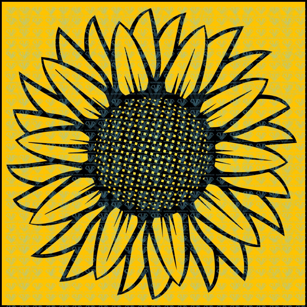 Sunflower Illustration Black White Svg Files For Silhouette Cricut Dxf Eps Png Instant Download