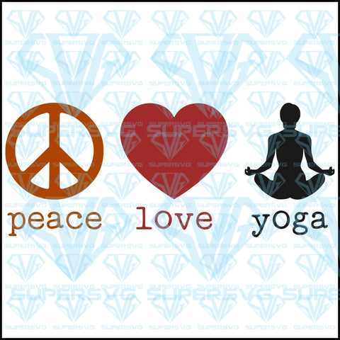 Peace Love Yoga, svg, png, dxf, eps file