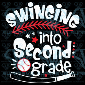 Swinging into Second grade Baseball player, svg, png, dxf, eps file