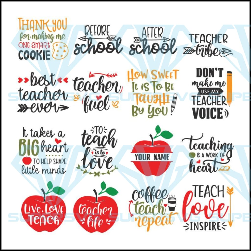 Teacher Svg Bundle, Teacher Quotes Svg, Teacher Appreciation Svg