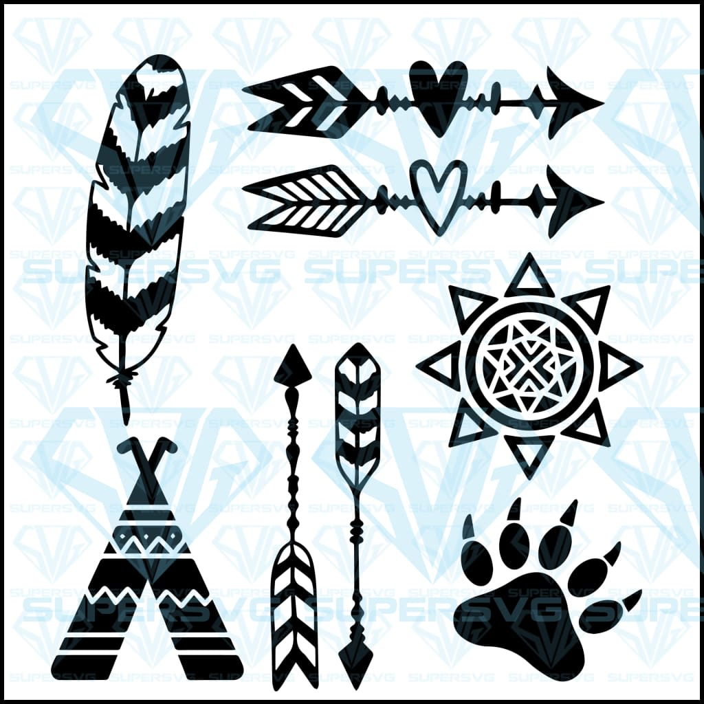Tribal Design Elements Sun Arrows Feather Bundle, svg, png, dxf, eps file
