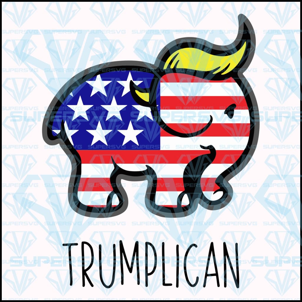 Trumplican Republican Elephant Trump 2020 Decal American Flag Presiden Supersvg