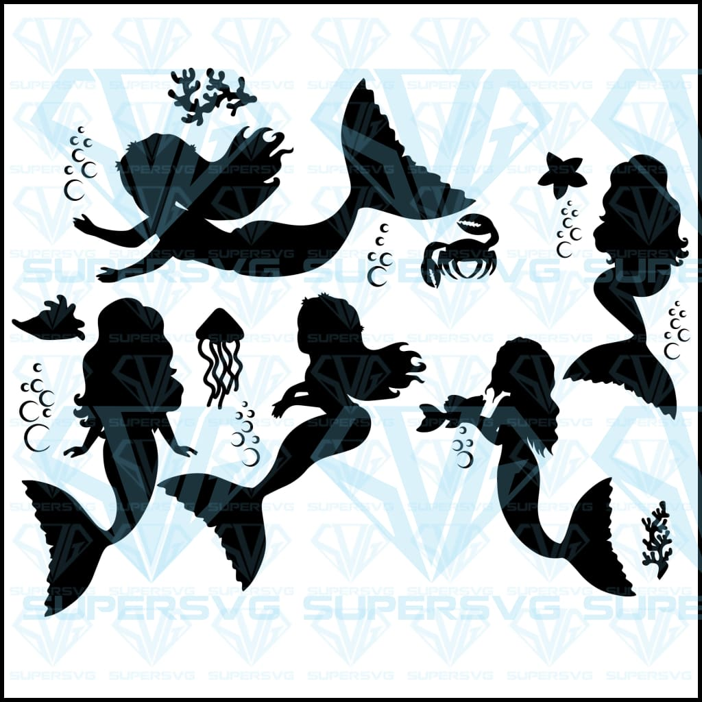 Vector Black Silhouettes Mermaids Collection Bundle, svg, png, dxf, eps file