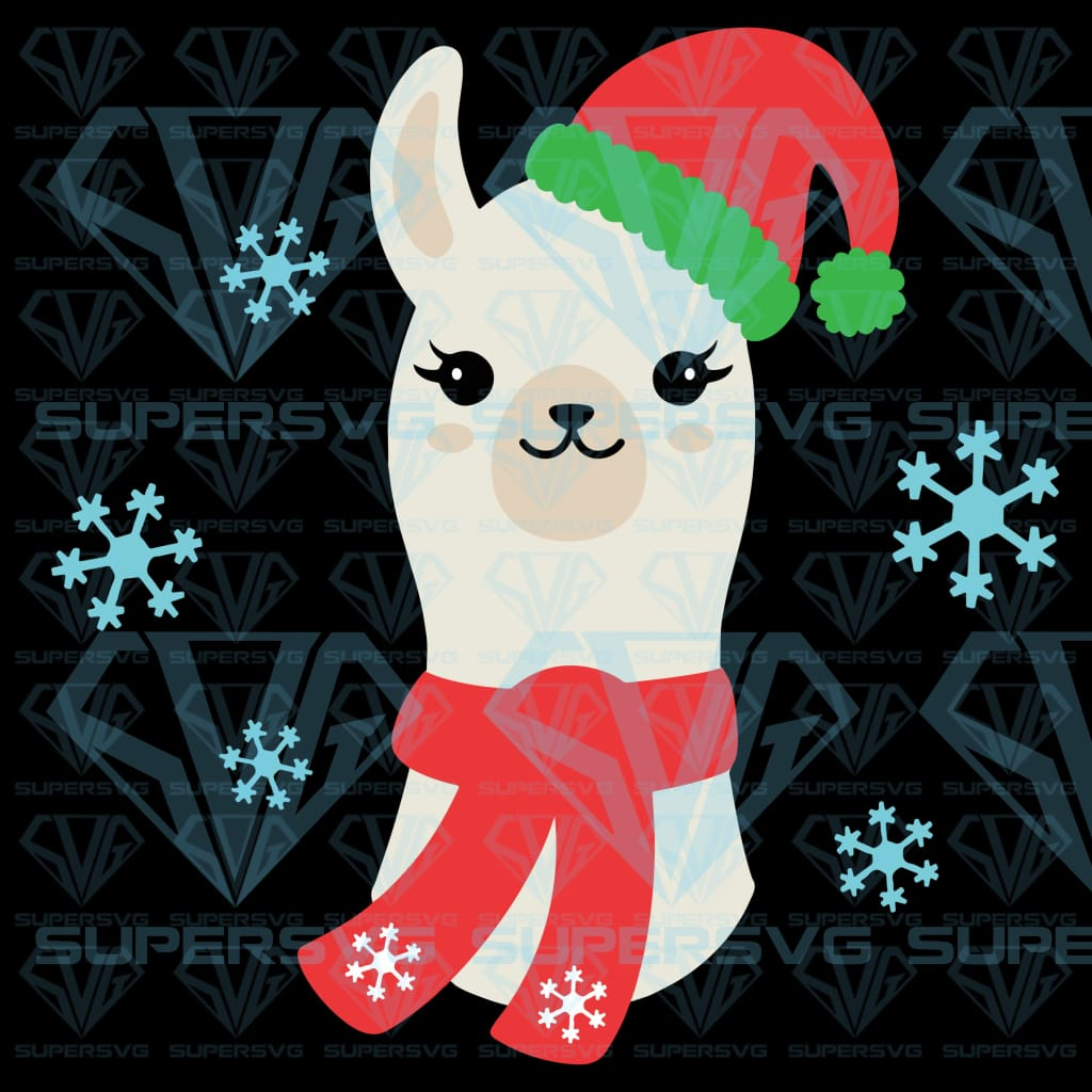Vector Illustration Christmas Llama Alpaca Wearing, svg, png, dxf, eps file