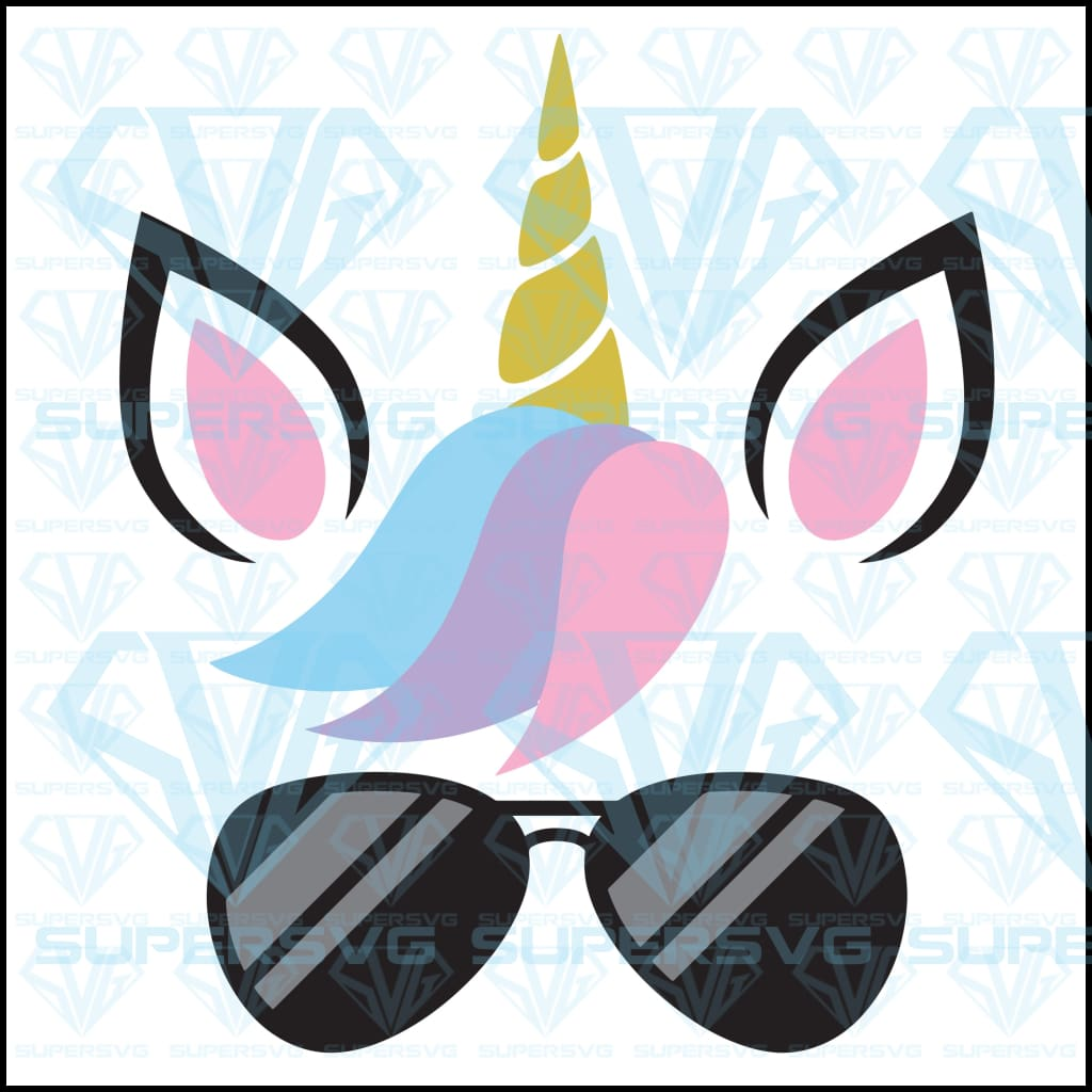Vector Illustration Of Cute Unicorn Face Wearing Sunglasses, svg, png, dxf, eps file