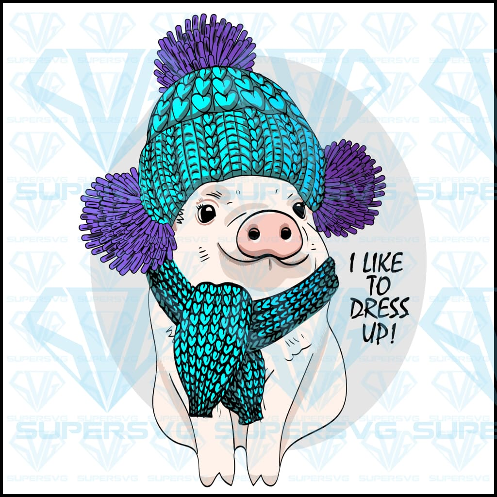 Vector Pig Blue Knitted Hat Scarf png