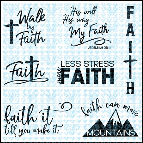 Walk In Faith - Bible Verse Bundle Svg Files For Silhouette Cricut Dxf Eps Png Instant Download