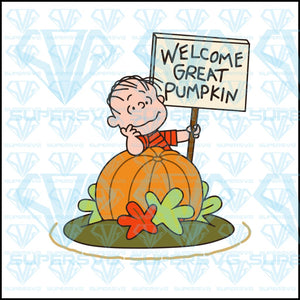 Welcome Great Pumpkin, charlie brown, pumpkin, svg, png, dxf, eps file