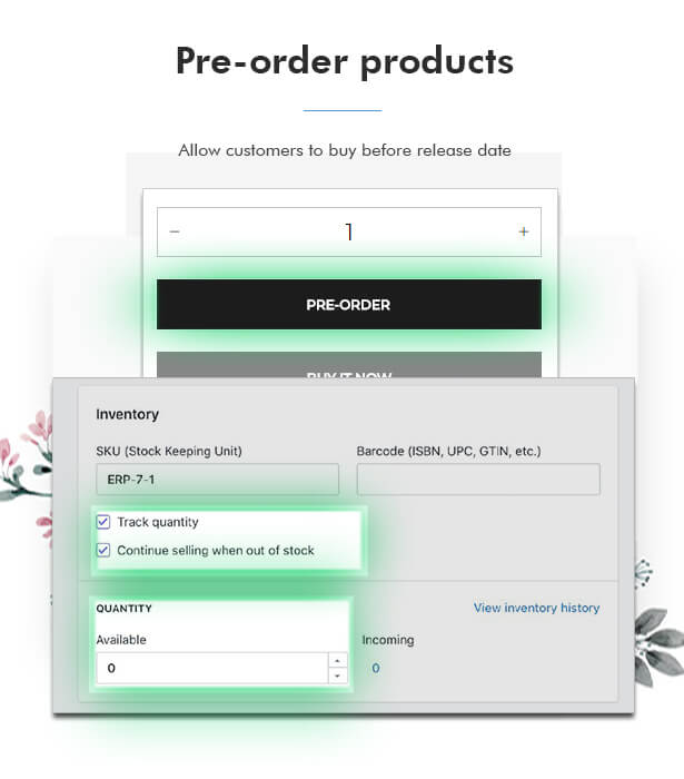 Pre order product