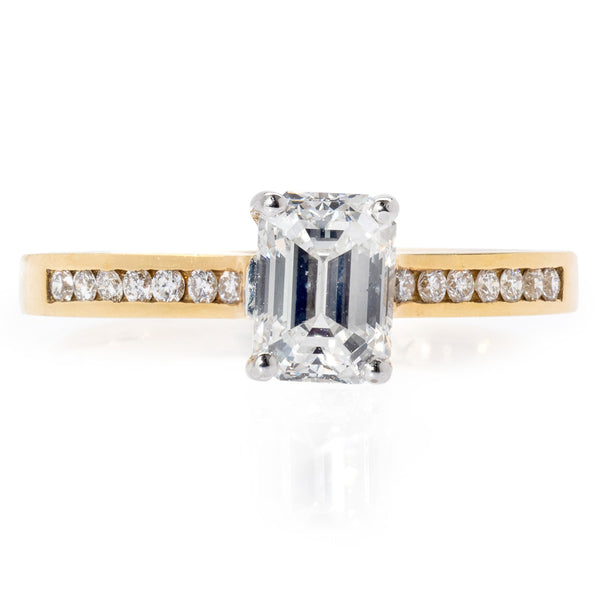 18ct Yellow Gold Emerald Cut Diamond Ring
