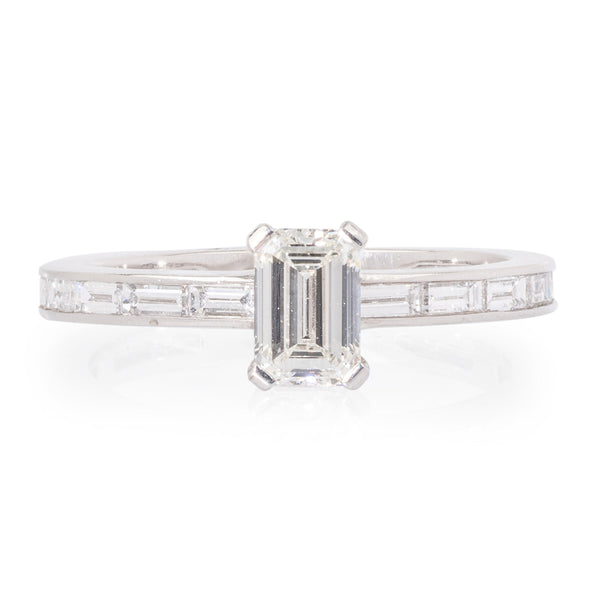 Diamond 18ct White Gold Ring with Diamond Band