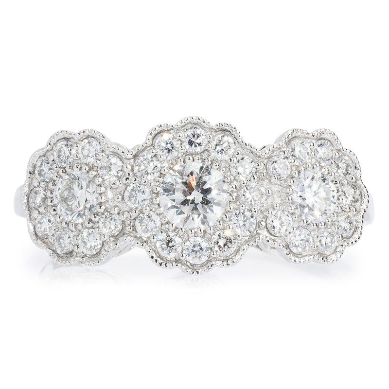 Platinum Diamond Cluster 3 Stone Ring