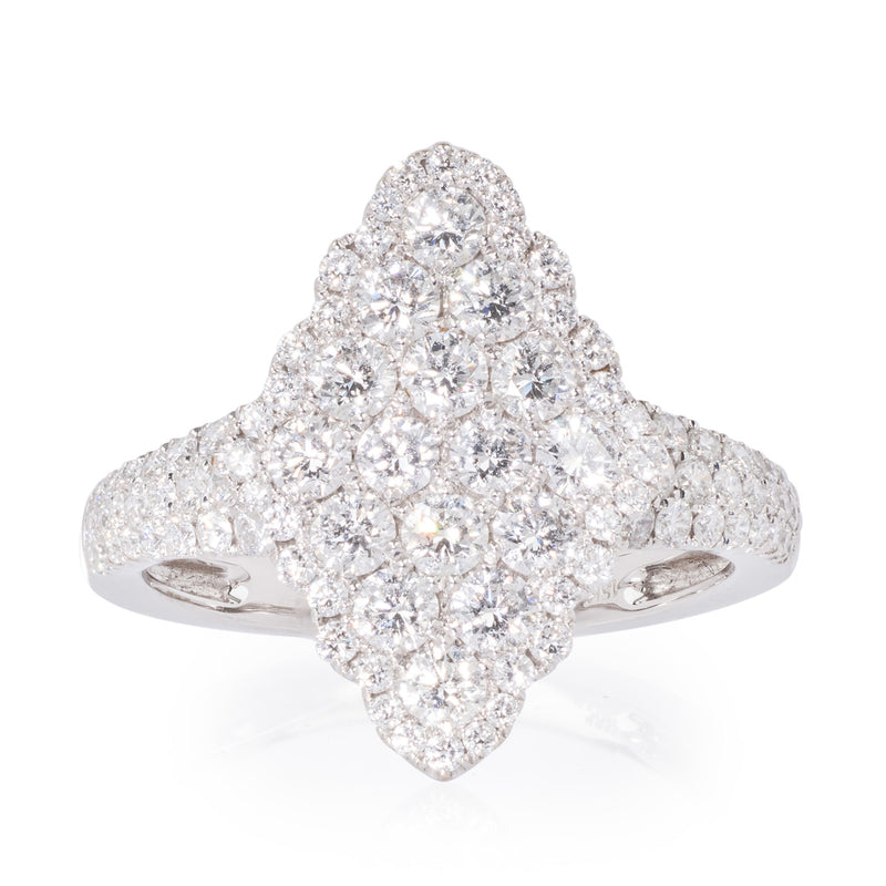 Marquise Shaped Diamond Cluster White Gold Ring