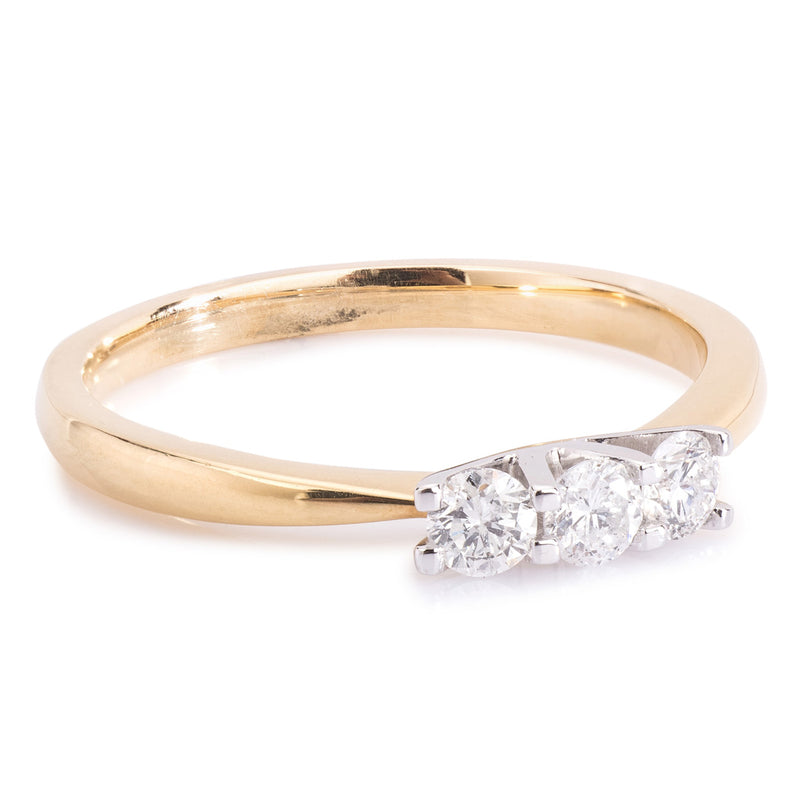 18ct Yellow Gold 3 Stone Diamond Ring