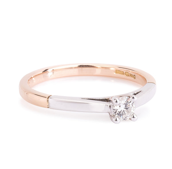 18ct Rose & White Gold Diamond Solitaire